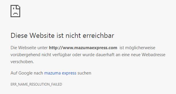 Webseite nicht erreichbar
